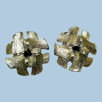 Vintage Lisner Gold-Tone Clip-Back Earrings, Basket Weave
