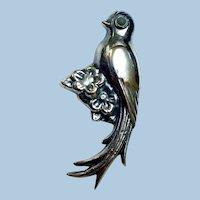Vintage Sterling Silver Exotic Bird Brooch, Mexico