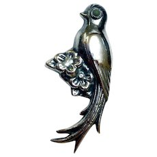 Vintage Sterling Silver Exotic Bird Brooch, Mexico