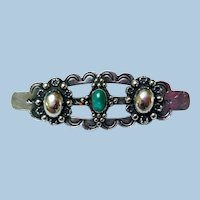 Coin Silver Brooch with Chrysoprase, 1920/30s