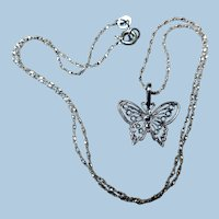 Dainty Sterling Silver Filigree Butterfly Necklace