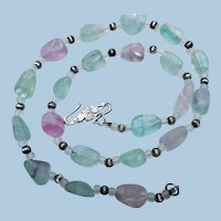 Vintage Natural Fluorite Nuggets Necklace, Sterling Silver Clasp