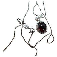 Vintage Sterling Silver & Tourmaline Necklace