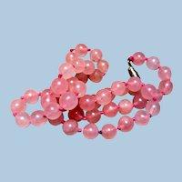 Vintage Rose Pink Quartz Bead Necklace