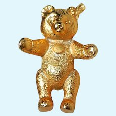 Vintage Steiff Teddy Bear Gold-Tone Pin