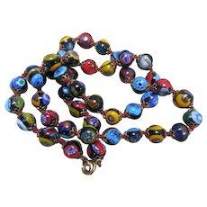 Vintage Millefiore Art Glass Bead Necklace