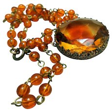 Vintage Czech Amber Glass Beads Necklace