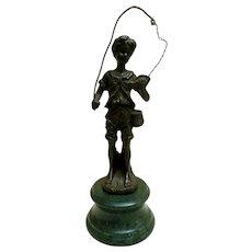 Vintage Bronze Sculpture, Auguste Moreau, Boy Fishing
