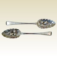 Antique Pair Sterling Silver Georgian Fruit Spoons, London, 1793