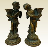 Vintage Candlesticks, Bronze or Brass, Petites Choses, Putti