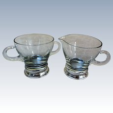 Sterling Silver and Crystal Cream and Sugar Set
