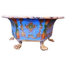 Antique Brass Jardiniere/Planter/Pot, Hand-Painted
