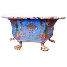Antique Brass Jardiniere/Planter/Pot, Hand-Painted