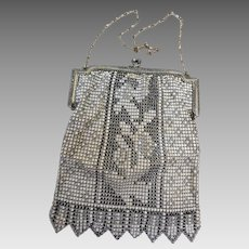 Whiting & Davis Enameled Mesh Bag, Ca 1890-1920