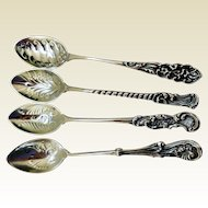Antique Gorham Sterling Silver English 5 O'Clock Teaspoons (4)