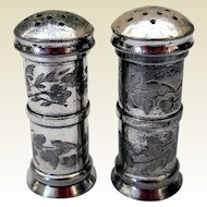 Aesthetic Silver Plate Salt & Pepper Shakers