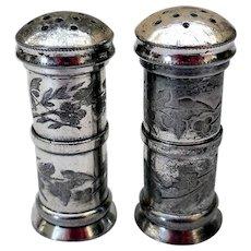 Aesthetic Silver Plate Salt & Pepper Shakers