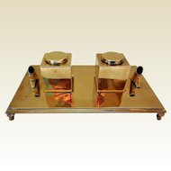 Vintage Sarreid, LTD Brass Double Inkwells, Spain
