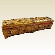 Art Nouveau Gilt Jewelry Casket/Fan Box