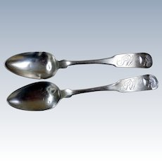 Coin Silver Teaspoons (2), By W. Collins, New York, Ca 1800