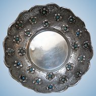 Antique Sterling Silver Bowl, Footed, with Turquoise Gems
