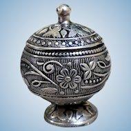 Art Nouveau Miniature Urn Pill Box, 800 Silver