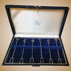 Mid Century Hors d'Oeuvre Picks, 900 Silver, Full Set