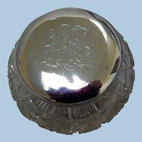 Vintage Sterling Silver Topped, Cut Crystal Vanity Dresser Jar