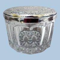 Vintage Sterling-Top, Cut Crystal Vanity, Dresser Jar