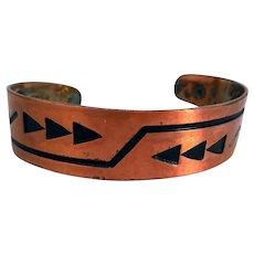 Vintage Native American, Southwestern Copper Bangle Bracelet