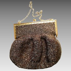 Vintage Lady's Copper-Beaded Purse, 1940s