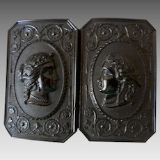 Antique Gutta Percha Molded Lady's Belt Buckle