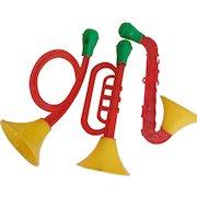 Mid-Century Plastic Horns, Spec-Toy, U.S.A. Christmas Props