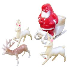 Mid-Century Plastic Santa Candy Container and 3 Plastic Deer