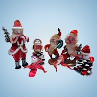 Early Chenille Santas, Figures, Pine Cone Elves, Japan