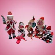 Early Chenille Santas, Figures, Pine Cone Elves, Japan