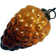 Early German Kugel Amber Glass Grape Cluster Christmas Ornament