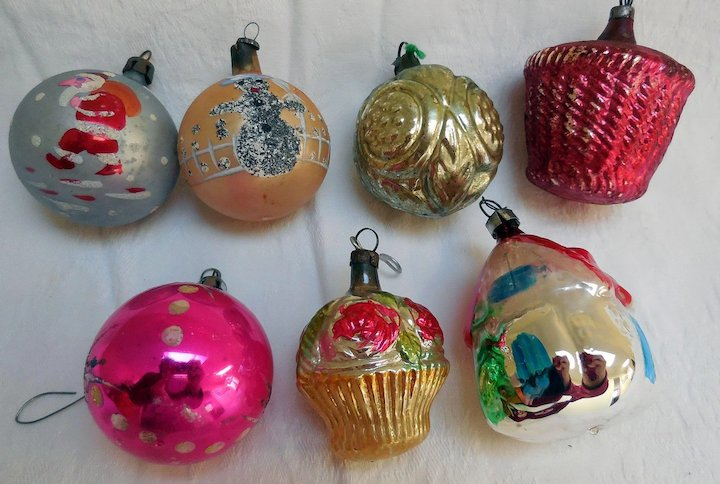 early glass hand painted christmas tree ornaments