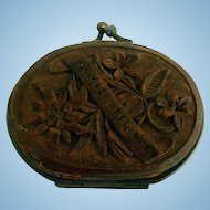 Early Carved Wood Change Purse, Ober Ammergau Souvenir