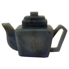 Vintage Asian Mini Teapot, Carved Nephrite Jade