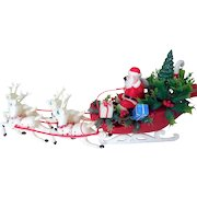 Mid-Century Plastic Santa, Sleigh, Reindeer