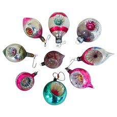 Vintage Fancy Glass, Hand-Painted Christmas Tree Ornaments (9)