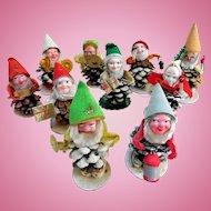 Spun Cotton, Pine Cone Christmas Elves, Mid-Century Japan, 10