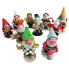 Spun Cotton, Pine Cone Christmas Elves, Mid-Century Japan, 10
