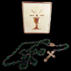 Vintage Child's Rosary, Green Glass Beads