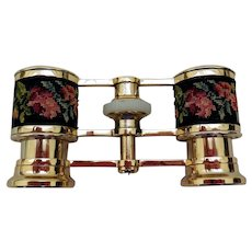 Vintage Opera Glasses with Needlepoint Decoration