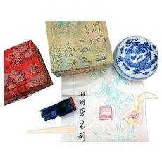 Chinese Lapis Lazuli Chop & Seal Paste Box, Mid-Century