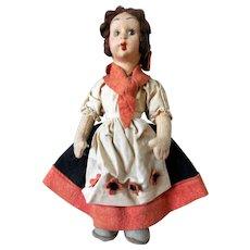 Early Lenci Wool Felt, Textile Doll, Ca 1920
