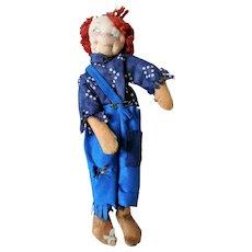 Folk Art Rag, Fabric, Textile Doll, Early/Mid-20th Century