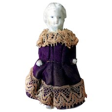 Miniature Victorian Bisque Doll in Original Dress